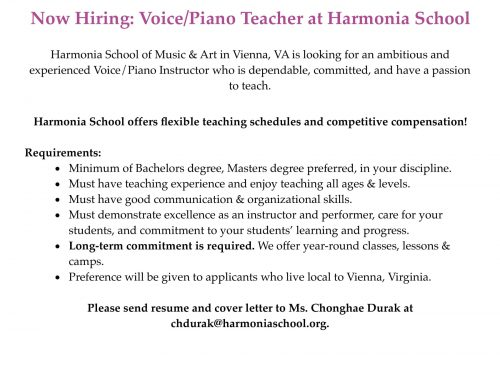 Voice / Piano Teachers Needed